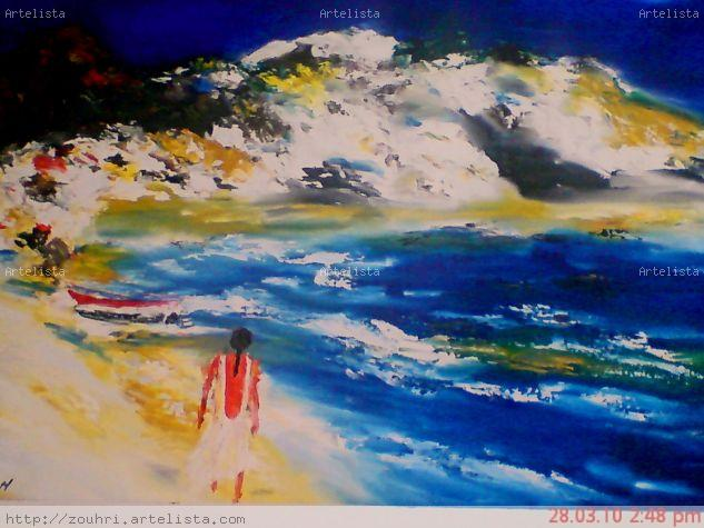 Romntico y el mar Ink Textile Marine Painting