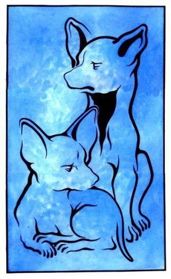 Perritos Chihuahuas Tinta Cartulina Animales