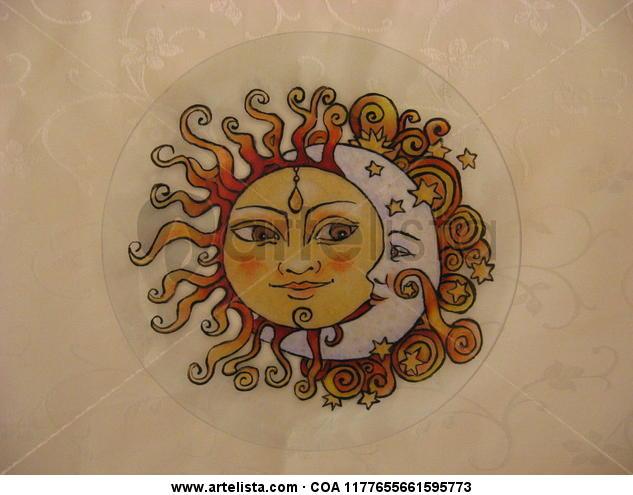 Sol y luna Figura Otros De vidriera