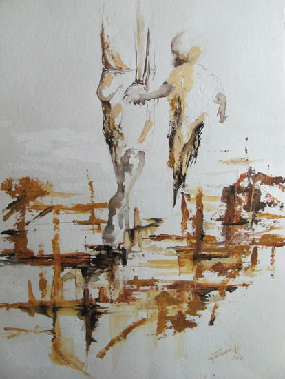 Caminantes Watercolour Paper Figure Painting