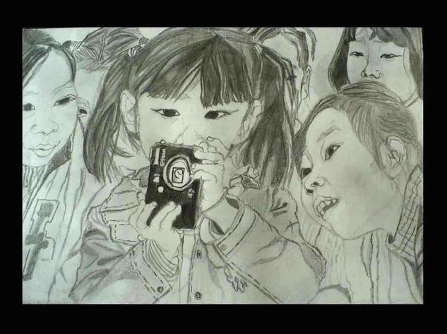 Chinese girls with camera Papel Pastel Retrato
