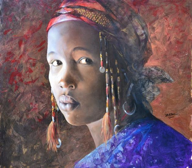 FEMME AFRICAINE Oil Portrait Canvas