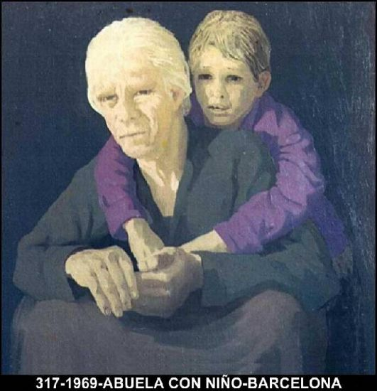 Abuela con niño Oil Canvas