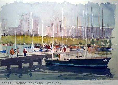 Puerto del Buceo - Montevideo _ Uruguay Acuarela Papel Marina