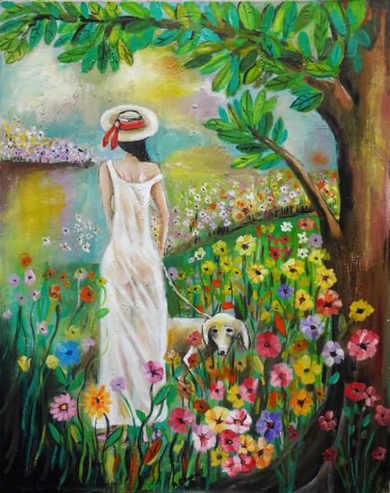 Retrato Lienzo Óleo Floral