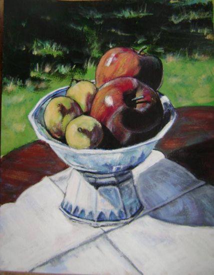 Limóns e mazás. Acrílico Papel Bodegones