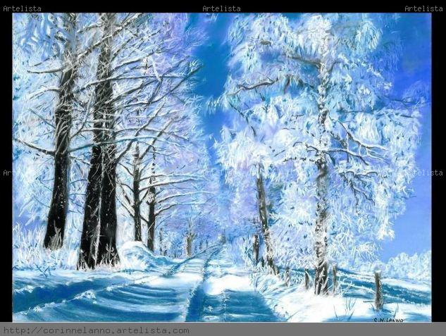 Invierno Pastel Papel Paisaje