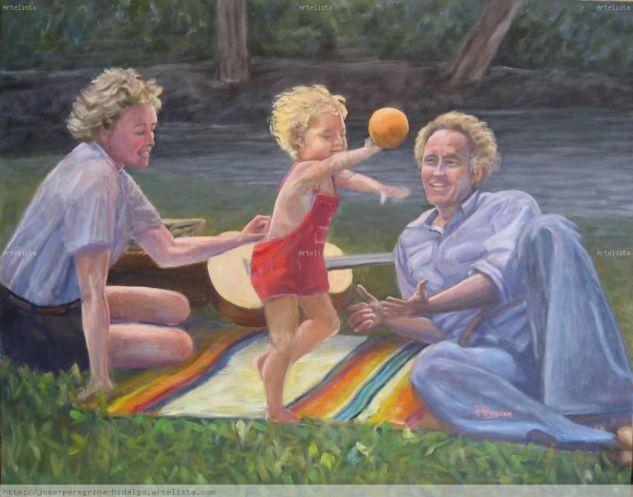 Matrimonio jugando con su hijo Óleo Lienzo Figura