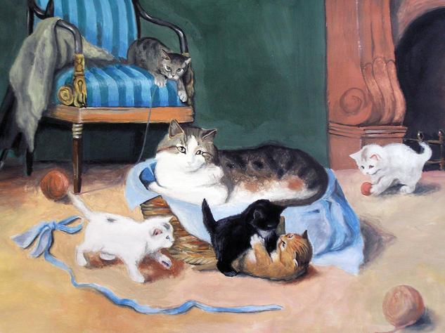 Gatos Papel Gouache Animales