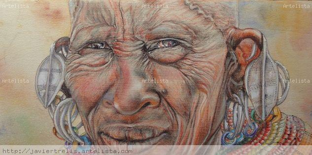 Masai Woman 2 Pastel Panel Portrait