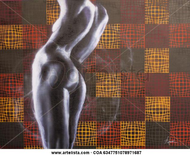 A través del patron Lienzo Industrial Desnudos