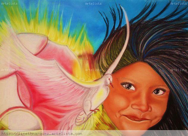 Niña y  flor del Espíritu Santo- PROHIBIDA LA REPRODUCCIÓN Cristal Pastel Retrato
