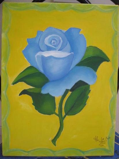 Rosa azul Lienzo Óleo Floral