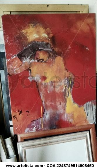 rosso donna  Canvas Industrial Figure Painting
