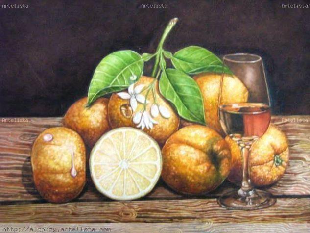 Bodegon de naranjas Acuarela Papel Bodegones