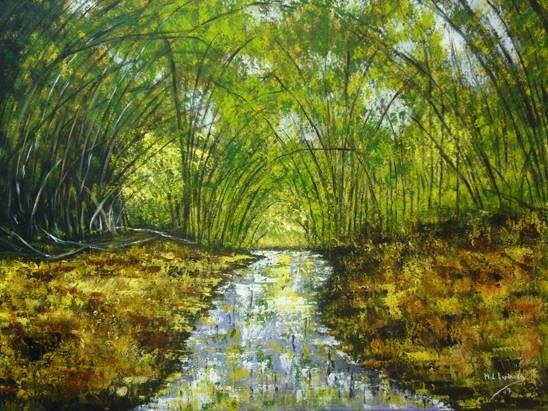 Cañas de Bambú Acrílico Lienzo Paisaje