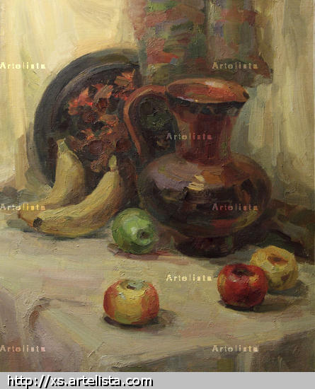 Un jarro de barro y las frutas Canvas Oil Still Life Paintings