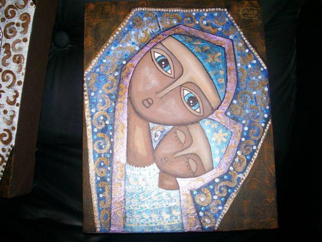 virgen azul Óleo Lienzo Figura