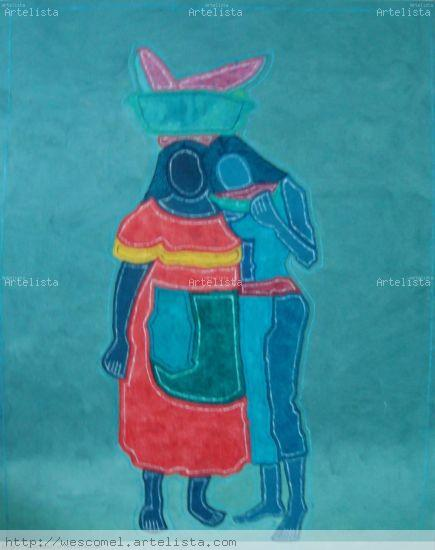 Palenquera con modelo Oil Canvas Figure Painting