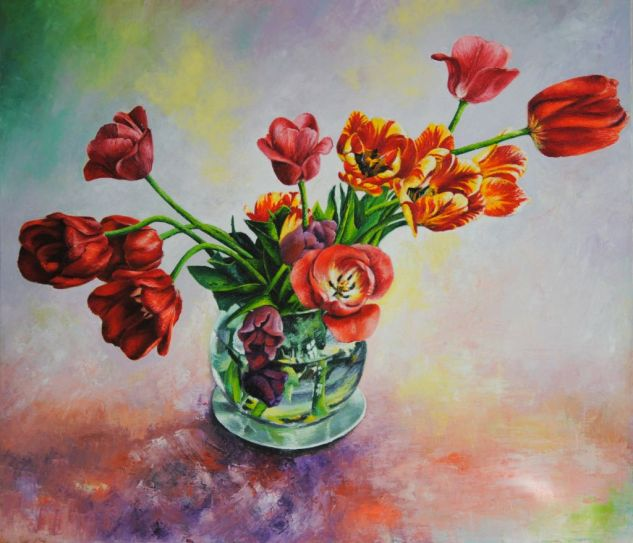 Tulipanes. Oil Canvas Floral Painting