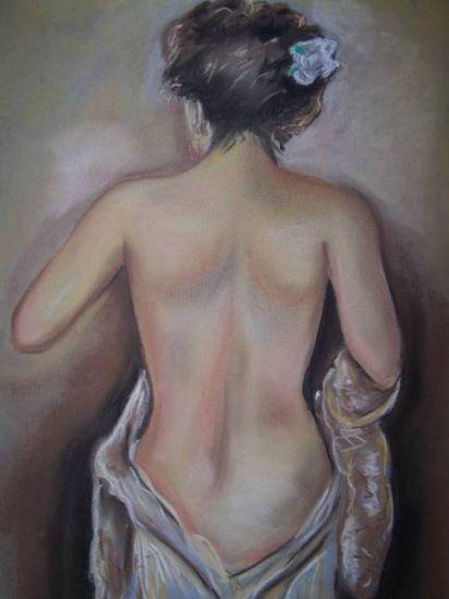 mujer desnudandose Pastel Papel Desnudos