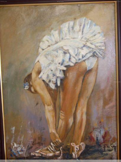 Bailarina Oil Card Figure Painting