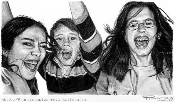 Niños gritando Carboncillo