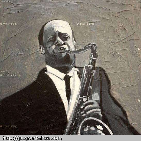 Coleman Hawkins Canvas Oil Figure Painting