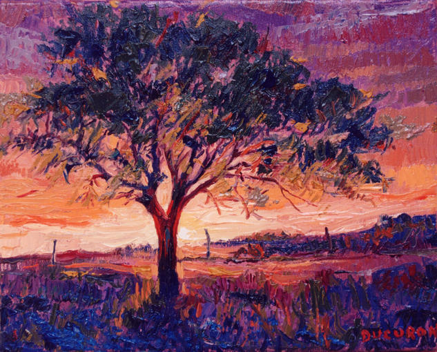 Atardecer en el campo Canvas Oil Landscaping