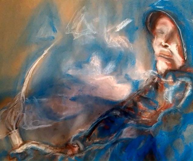 Monje sosteniendo una vela Sabiduría y Pensadores Cartulina Pastel Retrato
