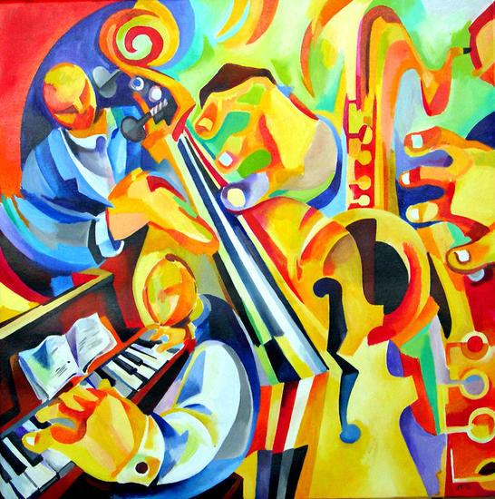 3 jazz Media Mixta Lienzo Paisaje