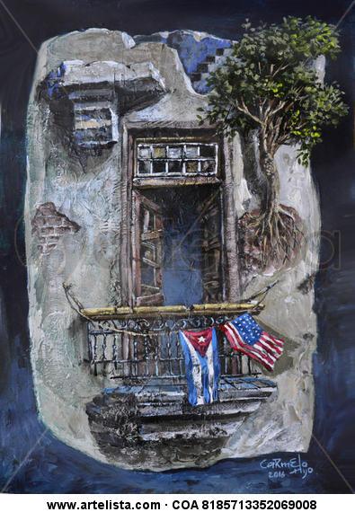 Fragmentos de mi Habana II Papel Acrílico Paisaje