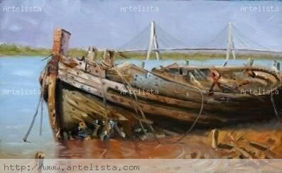 Abandonado en el Guadiana Oil Panel Marine Painting