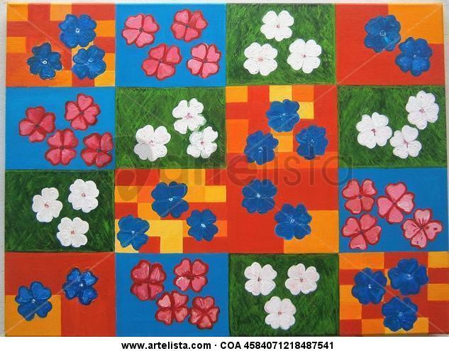 ( Op-Pop )Trébol de cuatro hojas Lienzo Acrílico Floral