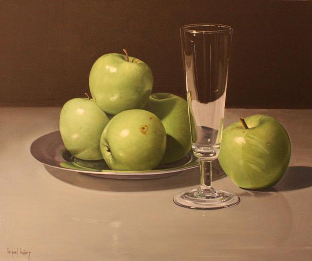 Manzanas y copa Lienzo Óleo Bodegones