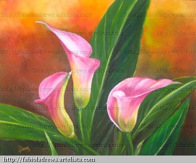 Trío de calas rosas Óleo Lienzo Floral