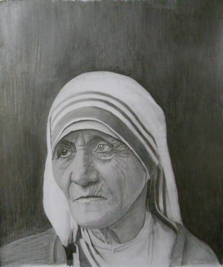 retrato Madre teresa de Calcuta Graphite