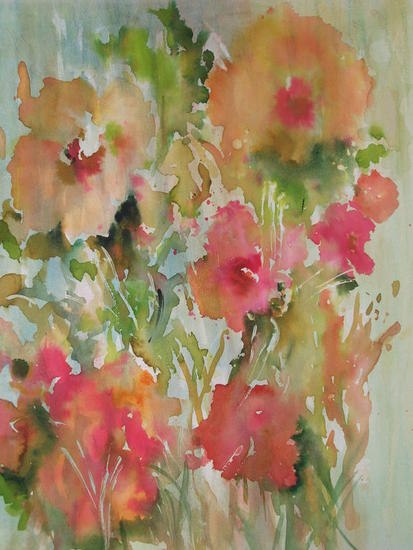 RAMILLETE DE FLORES  ALEGRES. Paper Watercolour Floral Painting