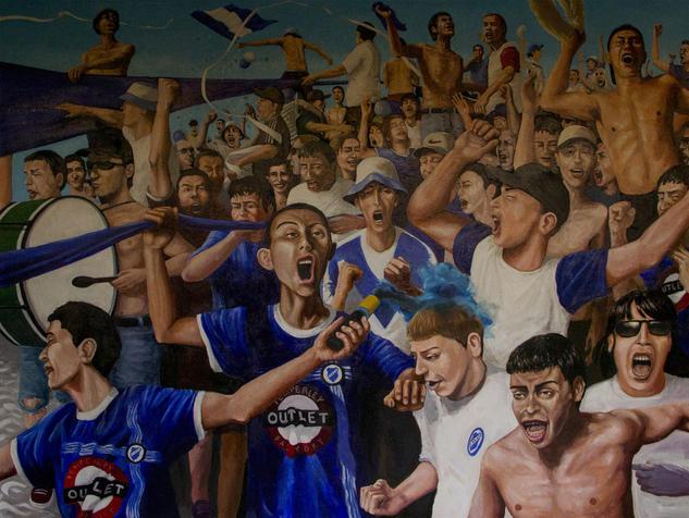 La vuelta olímpica del malón Óleo Deportes Tela