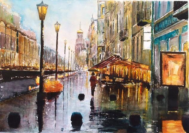 San Petersburgo Paisaje Acuarela Papel