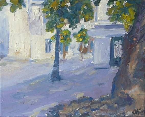 Plaça Prim Oil Canvas Landscaping