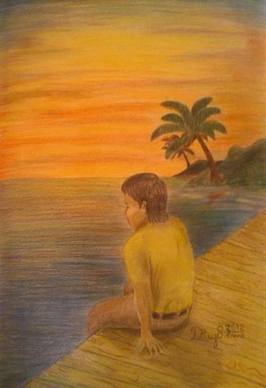 Puerto Vacio Figure Painting Pencil (coloured) Card