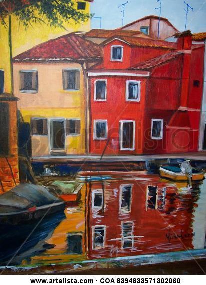 Venecia Paisaje Acrílico Lienzo