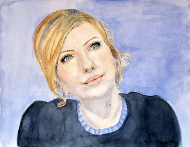 charlize pensativa Paper Watercolour Portrait