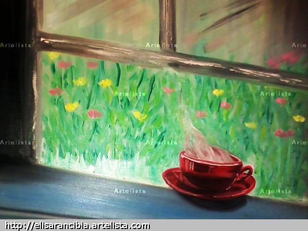 The cup of coffee Landscaping Oil Canvas