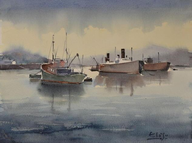 La Ría (Siglo XX) Paper Watercolour Marine Painting