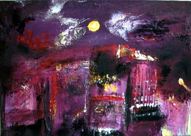 Arrabal nocturno Canvas Acrylic Landscaping