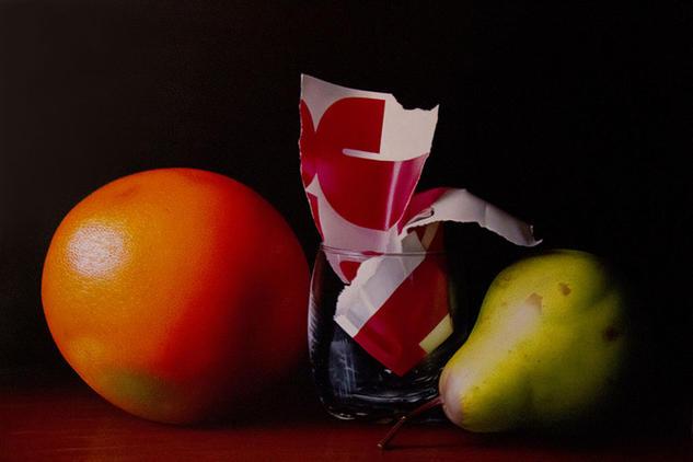 Vaso entre frutas Tela Óleo Bodegones