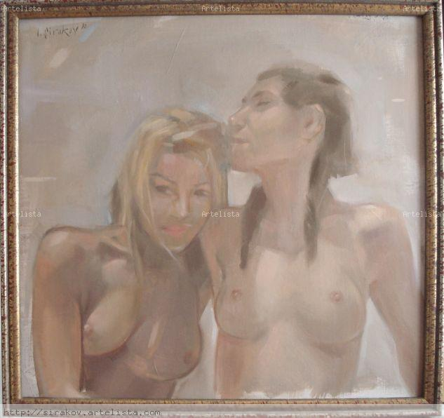 Amigas Oil Panel Nude Paintings