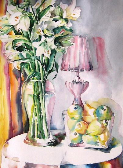 Bodegon con azucenas Paper Watercolour Still Life Paintings